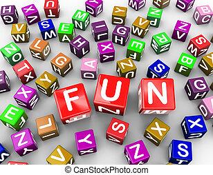 3d, kleurrijke, alfabet, blokjes, blokje, woord, plezier