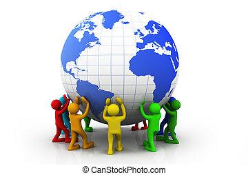 3d, kleurrijke, mensen, met, wereldbol