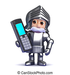 3d Knight chats on a mobile phone - 3d render of a knight...