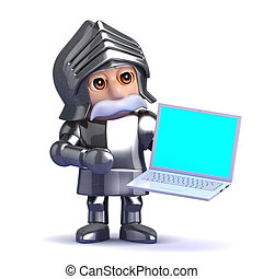 3d Knight in armour with a laptop - 3d render of a knight...