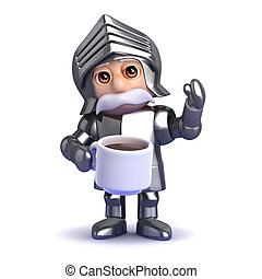 3d Knight tea break - 3d render of a knight drinking a cup...