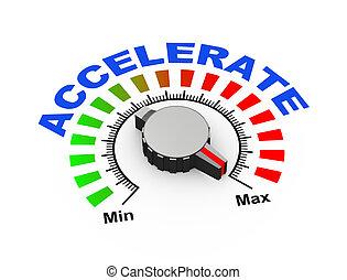 3d knob - accelerate - 3d illustration of knob set at...