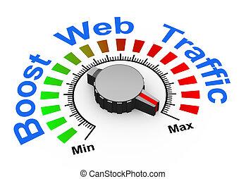 3d knob - boost web traffic - 3d illustration of knob set at...