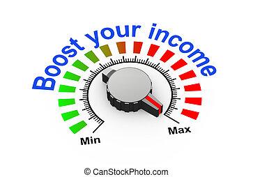 3d knob - boost your income - 3d illustration of knob set at...