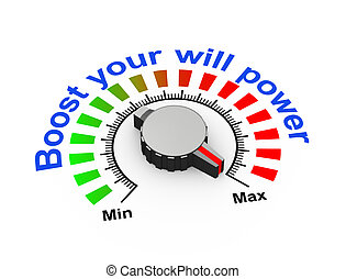 3d knob - boost your will power - 3d illustration of knob...