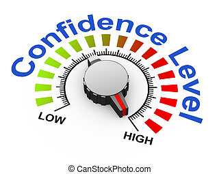 3d knob - confidence level - 3d illustration of knob set at...