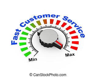 3d knob - fast customer suppor - 3d illustration of knob set...