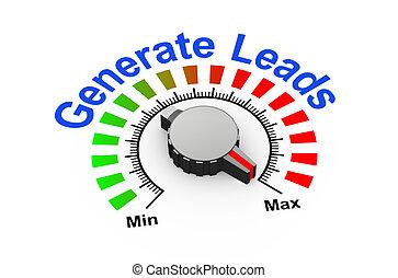 3d knob - generate leads - 3d illustration of knob set at...