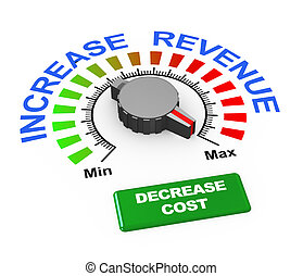 3d knob - increase revenue decrease cost - 3d illustration...