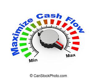 3d illustration of knob set at maximum for maximize cash flow