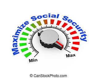 3d knob - maximize social security - 3d illustration of knob...