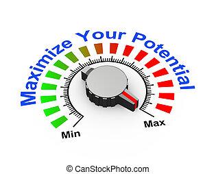 3d knob - maximize your potential - 3d illustration of knob...