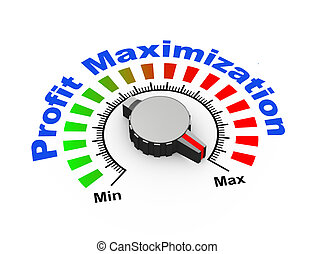 3d knob - profit maximization - 3d illustration of knob set...