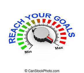 3d knob - reach your goal - 3d illustration of knob set at...