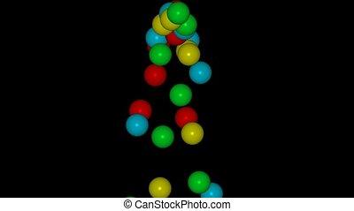 3d, kolor, piłki, spadanie