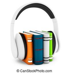 3d, kopfhörer, mit, buecher, audio-book, begriff