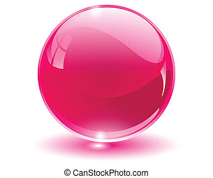 3d, kristall, glas, kugelförmig