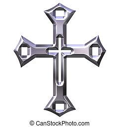 3d, kruis, zilver, artistiek
