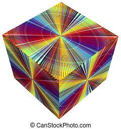3d, kubus, in, regenboog kleurt