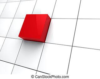 3d, kubus, rood, gebied