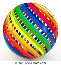 3d, kugelförmig, mit, farbe, streifen
