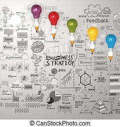 3d, lápis, bulbo leve, com, mão, desenhado, estratégia negócio, diagrama, como, conceito