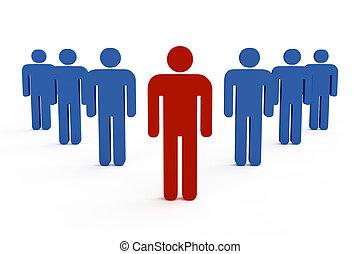 3d, líder equipe, saliência, companhia