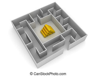 3D Labyrinth with gold in the middle