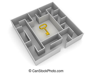 3D Labyrinth with key in the middle