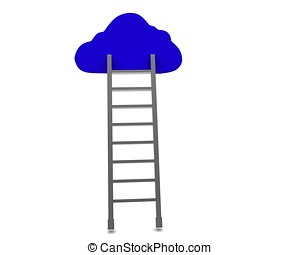3d ladder connected to cloud concept