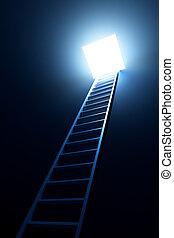 3d, ladder, toonaangevend, om te, uit