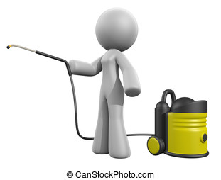 3d Lady Pressure Washer - 3d lady with a pressure washer.