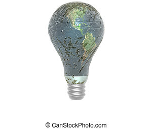 3D lamp with earth texture