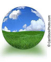 3d, landscape, morphed, in, planeet land