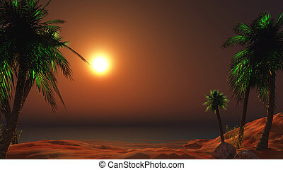 3D landscape of a sunset beach with palm trees
