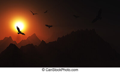 3D landscape with birds flying in the sunset sky over...