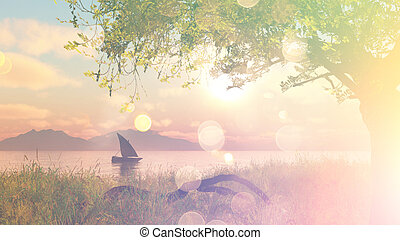 3D landscape with boat on river with vintage effect - 3D...