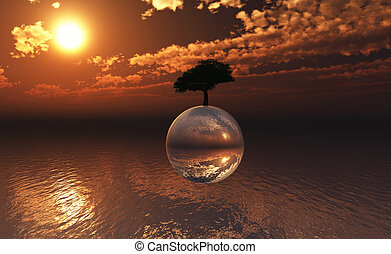3D landscape with tree on sphere