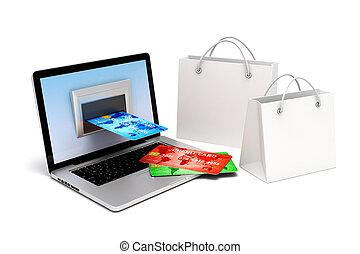 3d laptop and credit card, online transaction concept