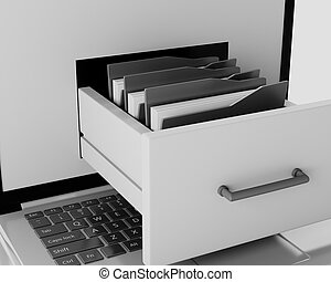 3d Laptop and file cabinet with folders.