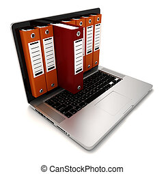 3d laptop and folders on white background