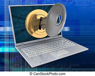 3d laptop and key locked - 3d illustration of laptop over...