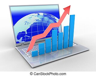 3d laptop and rising charts - 3d illustration of laptop over...
