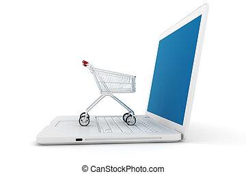 3d laptop and shoppping cart, online shopping concept