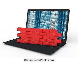 3d, laptop, brandmauer, begriff