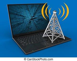 3d laptop computer and antenna
