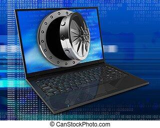 3d laptop computer and opened vault door