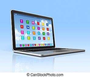 Laptop Computer - apps icons interface - 3D Laptop Computer...