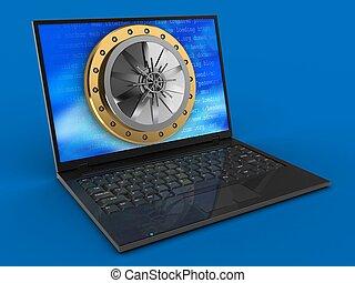 3d, laptop computer, en, gewelf, deur
