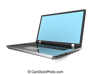 3d, laptop-computer, freigestellt, weiß
